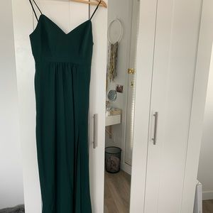Floor length Forrest green bridesmaid dress